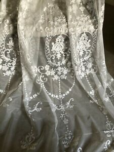 """BEAUTIFUL HUGE 60""""X104"""" FRENCH STYLE WHITE NET CREWELWORK EMBROIDERED CURTAINS"""