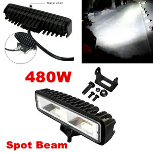 1x 6'' 480W 1600LM LED Work Light Bar Spot Lamp Boat off-road Fog Lamp 6000K