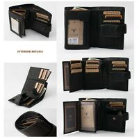 Black Zipper Secured Bifold Wallet Men's Genuine Leather with coin pocket New
