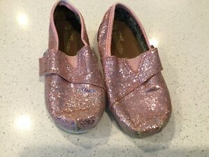 Toddler Girl's Light Pink Glitter TOMS Shoes Size 9T