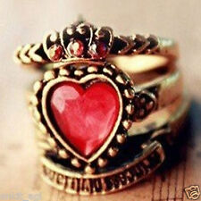 Stile Beautiful Antique Gold Plated Red Gem Heart 3 Rings Ring Women