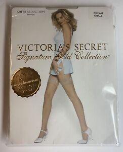 Victoria's Secret Signature Gold Collection Sheer Seduction Stay Ups Cream SMALL