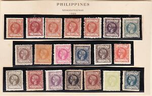 Philippines 1898 Alfonso XIII complete set of 20 values Mint Fine -VF