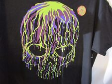 Men's T Shirt   Sz L  SCULL SKULL Large , Glow In The Dark Purple Green Black