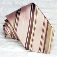 Cravatta uomo classica  rosa antico regimental  100% seta  Made in Italy RP€ 40