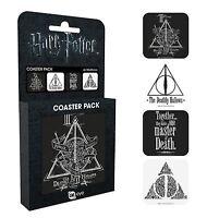 Harry Potter Deathly Hallows Coaster Pack Novelty Gift Hogwarts Set of 4