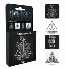 Harry Potter Deathly Hallows Coaster Pack Novelty Gift Hogwarts Set of 4