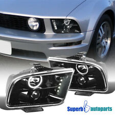 For 2005-2009 Mustang Polished Black Replacement LED DRL Projector Headlights