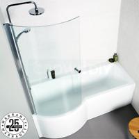 P Shape Acrylic Shower Bath 1700mm Screen Panels White Clear Glass Shower Screen