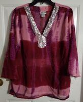 New Women's Millenium Pink & Wine Sheer Mid/Long Sleeve Shirt Blouse Top Size 16