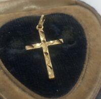 14k Gold Estate Vintage Necklace Pendant Cross Signed VH Diamond Cut