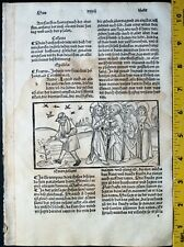 Beautiful woodcut ,Jesus' Simile of good and bad seed,very rare Incunabulum,1488