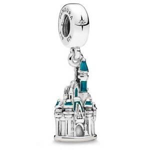 2020 Summer Authentic Pandora Disney World Cinderella Castle Blue Enamel Charm