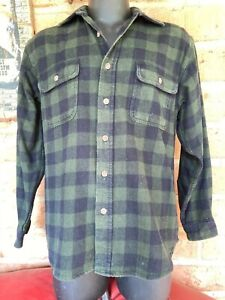 MENS VINTAGE WOOL GREEN CHECK SHIRT by *FIELD AND STREAM* - S-M-