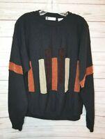 Vintage Bachrach size M black colorblock pullover sweater Biggie Hip Hop style