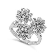 with Clear Cubic Zirconia Size 8 Plumeria Flower Sterling Silver Cocktail Ring