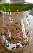 Yankee Candle Holly Tart Warmer Clear Glass Christmas Wax Burner Hand Painted