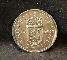1966-S Great Britain shilling, Scottish crest, Elizabeth II, UNC, KM-905 (GB6)
