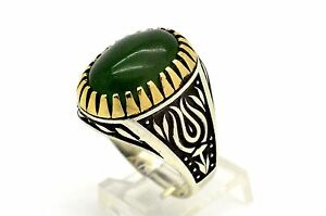 Mens 925 Sterling Silver Ring Size 11.75 Green Agate Handmade