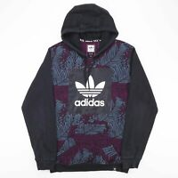ADIDAS Black Sports Pullover Floral Casual Sweatshirt Hoody Size Mens Small
