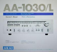 Akai AA-1030 receptor estéreo AA-1030L Manual del operador Inc Conn Diags Eng Fr