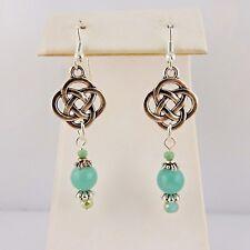 Silver Celtic Knot earrings w/ Amazonite gemstone beads & blue crystals Irish