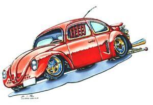 RED CLASSIC STYLE VW  BEETLE CROSS STITCH CHART, BN! FREE UK POST