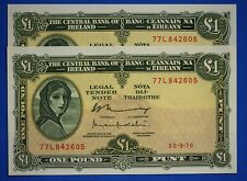 More details for 1976 irish ireland eire one pound, lady lavery £1 banknotes consecutive  [20649]