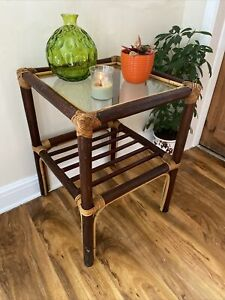 Vintage Retro Boho Bamboo Cane Rattan Tiki Glass Top Square Side Coffee Table