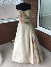 MAGGIE SOTTERO WEDDING DRESS SIZE UK 14 GOLD & FLORAL (ONE ONLY)