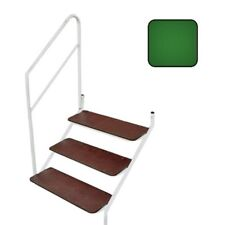 Static Caravan 3 Tread Bolt On Steps in GREEN with Handrail
