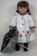 3pc WHITE Raincoat w/Rain Boots Umbrella Doll Clothes For 18 American Girl (Debs