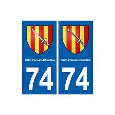 74 Saint-Paul-en-Chablais blason autocollant plaque stickers ville arrondis