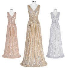 Plus V-NECK Long Sequin GLITTER Evening Party Dress Bridesmaid Ball Gown Pageant
