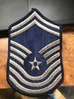 US Air Force Chief Master Sergeant Rank Patch Insignia E-9 E9 Blue USAF USA Vtg