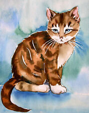 Cat Kitten Animals  Drawing  Original  Watercolor Blue Painting  Signed
