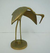 Brass Crane Figurine Mid Century Made in Korea Stork Egret Heron Figurine