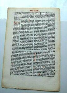Early Law Leaf  printed 1494