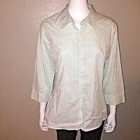 Merona Button Down Shirt Size XL Womens Stretch Striped Blouse 3/4 Sleeve Top