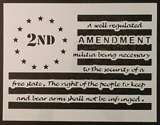 "2nd Amendment Gun Guns Flag 11"" x 8.5"" Custom Stencil FAST FREE SHIPPING"