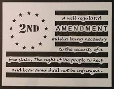 """2nd Amendment Gun Guns Flag 11"""" x 8.5"""" Custom Stencil FAST FREE SHIPPING"""