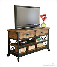 Rustic TV Stand Table Console Media Cabinet Pine Finish Wood & Metal Antiqued
