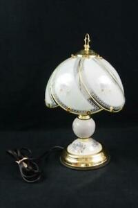 Vintage Style Touch Lamp Decorative Floral Elegant Tested Works Gold White