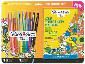 Paper Mate Flair Felt Tip Pens 16 Assorted Colors, with Post Card Coloring Book