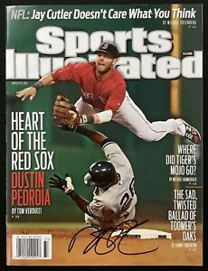 Dustin Pedroia Signed Sports Illustrated 8/15/11 No Label Red Sox Autograph JSA