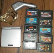 Nintendo Game Boy SP Silver Console 10 Games Charger Bundle Working
