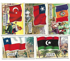 5 X Flags of the World 1956 Trading Cards Libya Chile Turkey Burma Rumania
