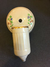 Antique beige porcelain flowered bath wall sconce light with gold trim
