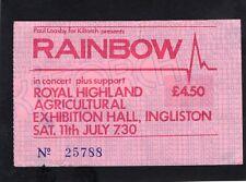 1981 Rainbow Rose Tattoo concert ticket stub Edinburg Scotland Blackmore Glover