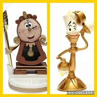 New !!!Disney Beauty And The Beast Funcional Clock & Lumiere Light Up Set 2